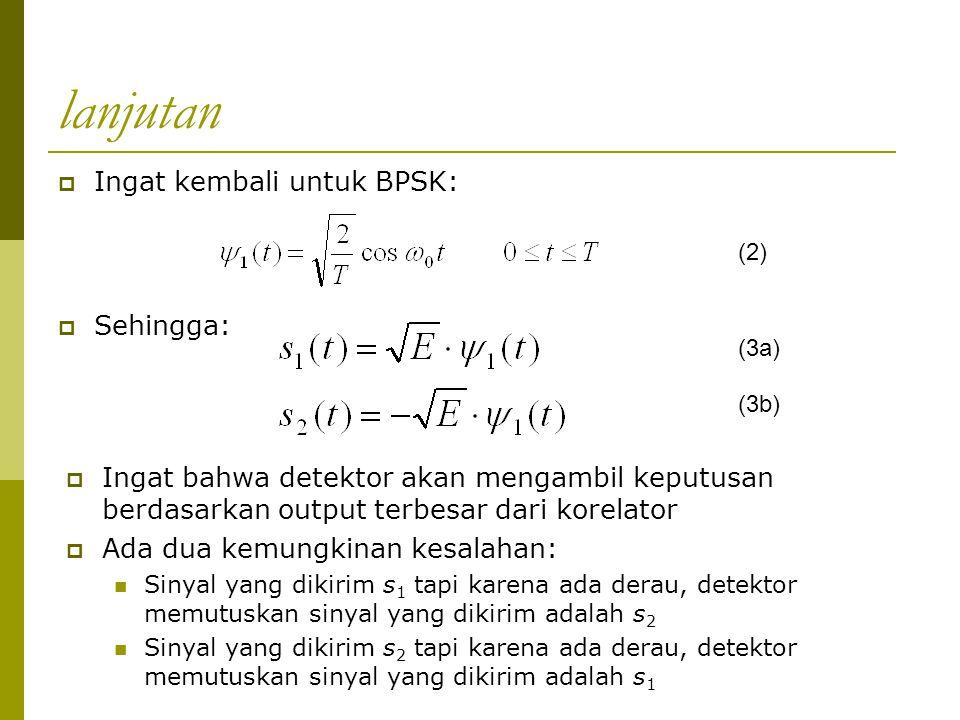 lanjutan Ingat kembali untuk BPSK: Sehingga:
