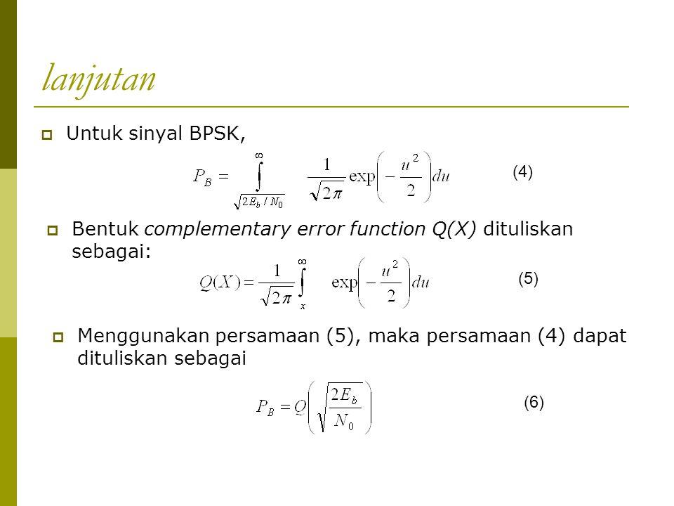 lanjutan Untuk sinyal BPSK,