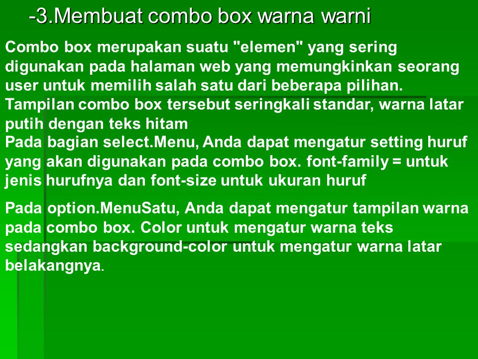 -3.Membuat combo box warna warni