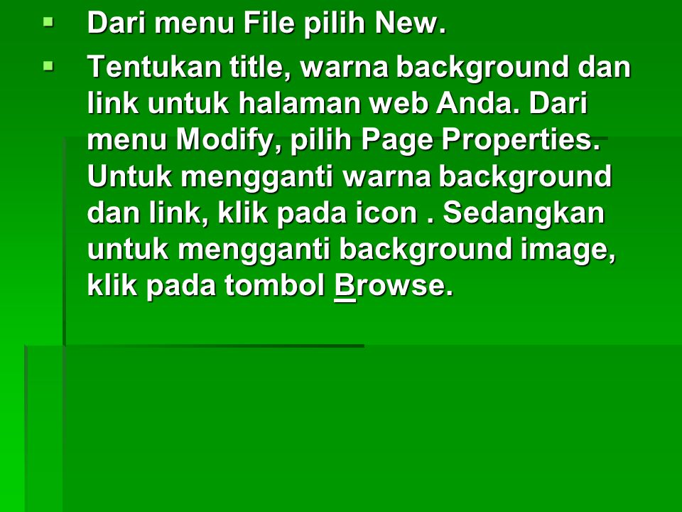 Dari menu File pilih New.