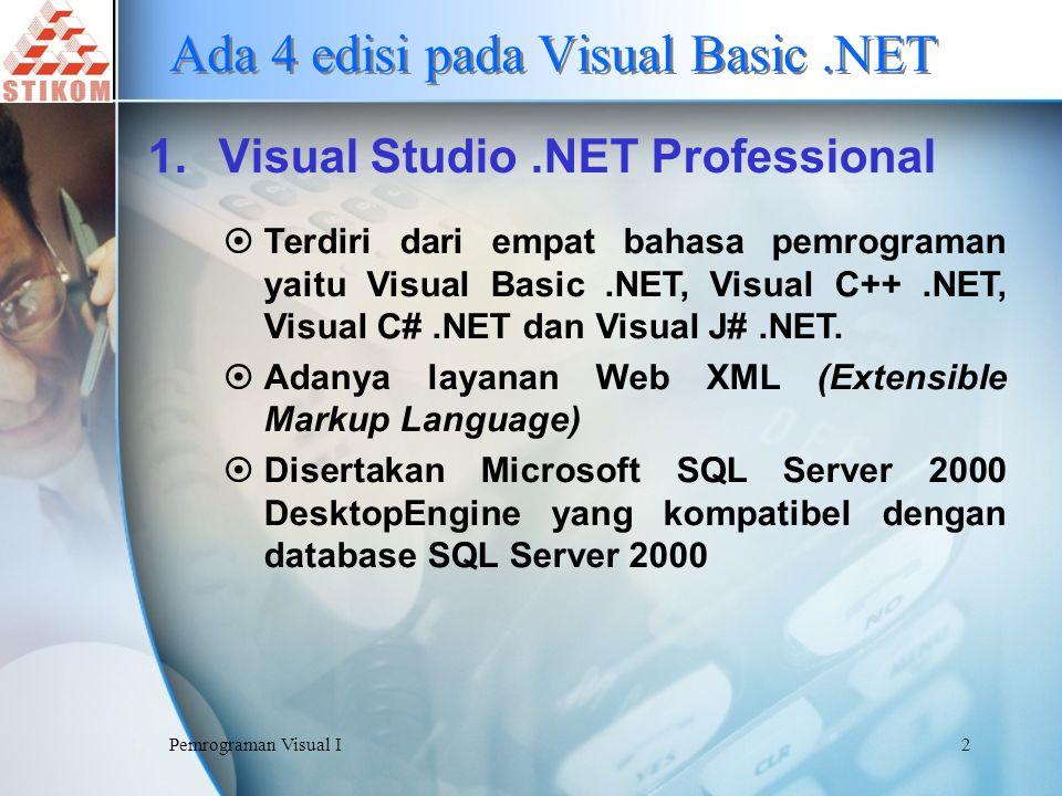 Ada 4 edisi pada Visual Basic .NET
