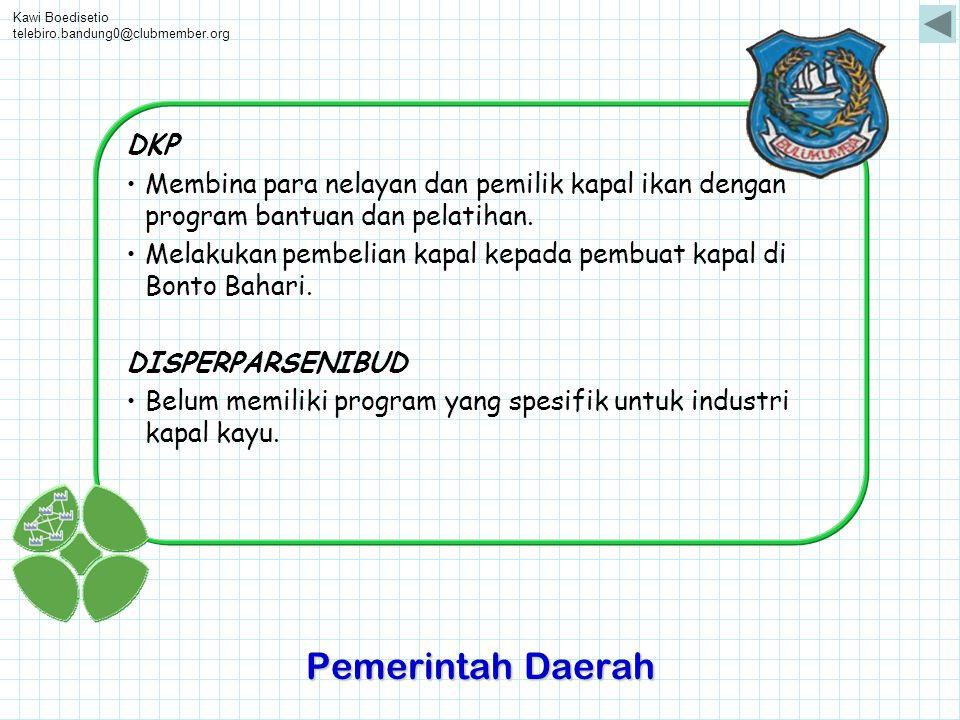 Kawi Boedisetio telebiro.bandung0@clubmember.org. DKP. Membina para nelayan dan pemilik kapal ikan dengan program bantuan dan pelatihan.