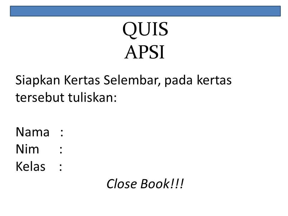 QUIS APSI Siapkan Kertas Selembar, pada kertas tersebut tuliskan: