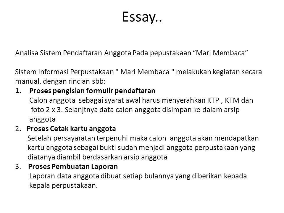 Essay.. Analisa Sistem Pendaftaran Anggota Pada pepustakaan Mari Membaca