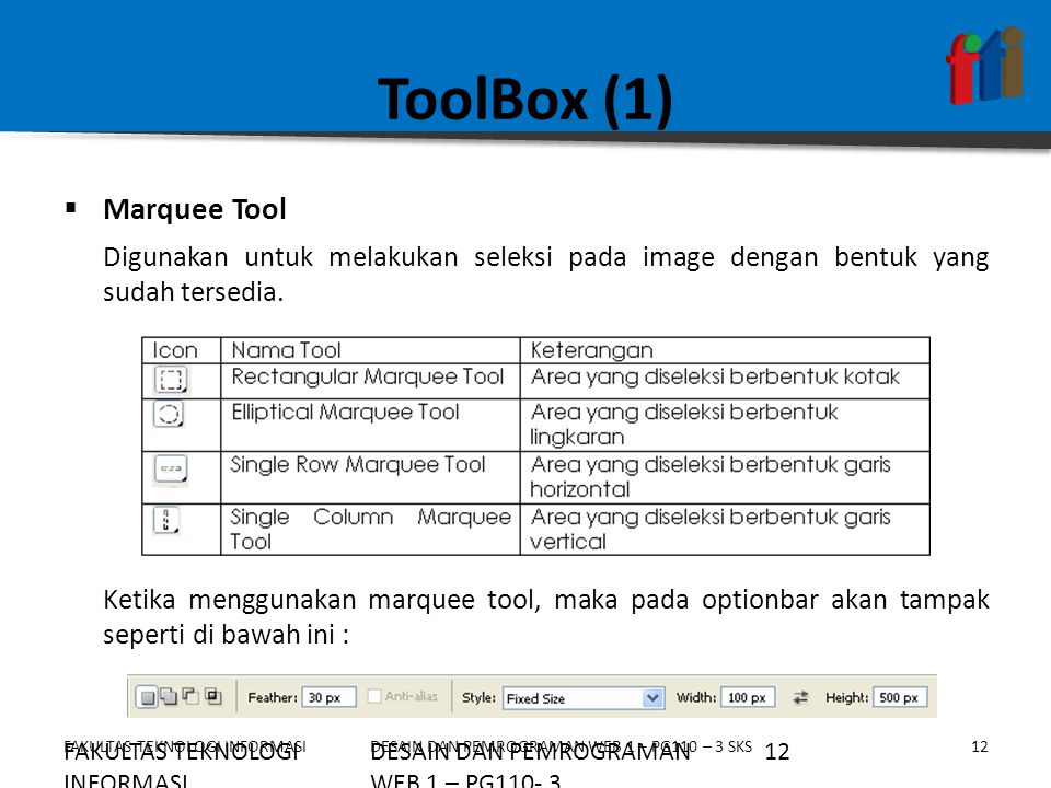 ToolBox (1) Marquee Tool