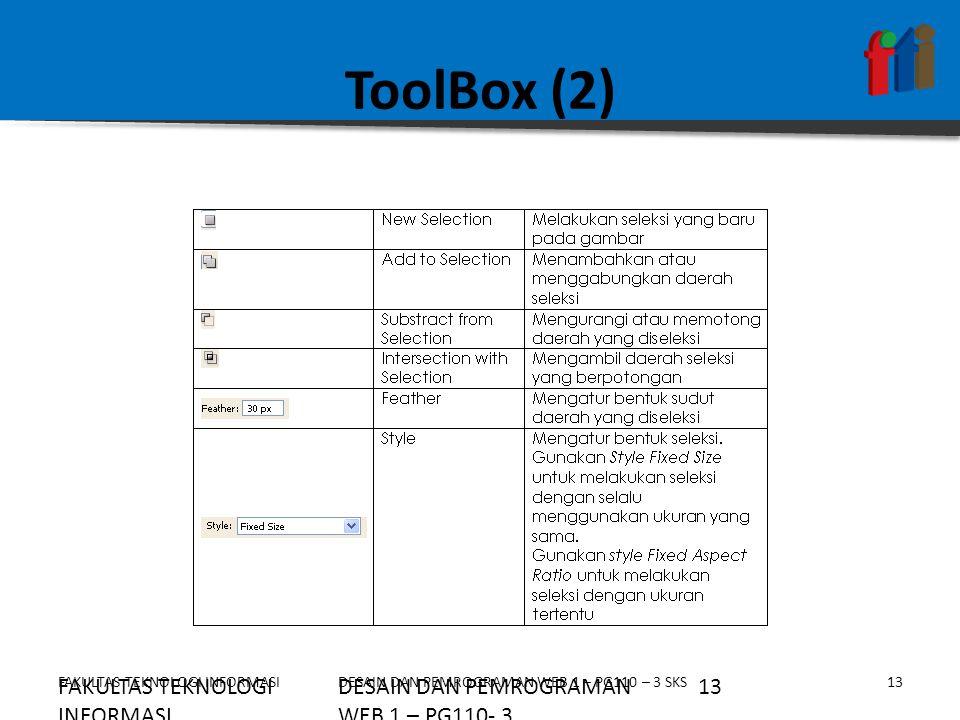 ToolBox (2) FAKULTAS TEKNOLOGI INFORMASI