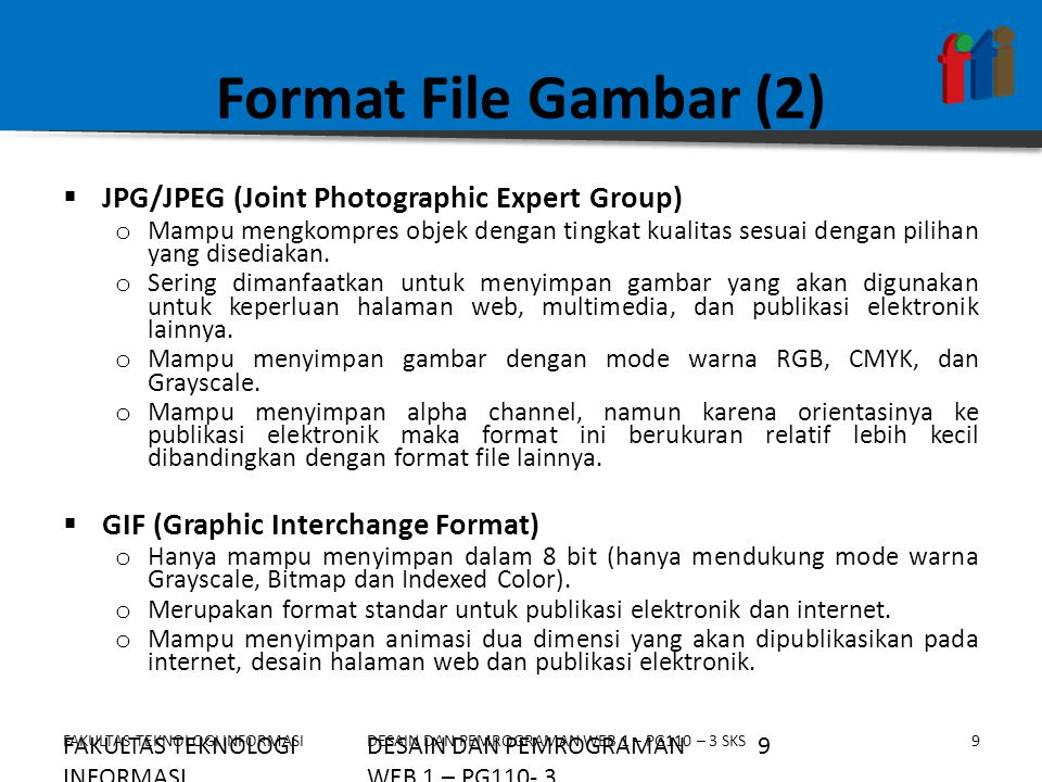 Format File Gambar (2) JPG/JPEG (Joint Photographic Expert Group)