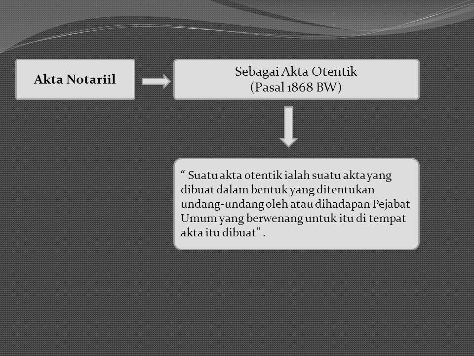 Sebagai Akta Otentik Akta Notariil (Pasal 1868 BW)