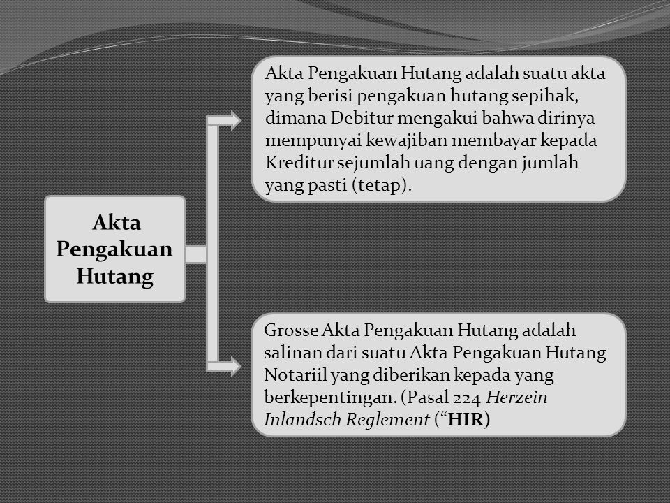 Akta Pengakuan Hutang adalah suatu akta yang berisi pengakuan hutang sepihak, dimana Debitur mengakui bahwa dirinya mempunyai kewajiban membayar kepada Kreditur sejumlah uang dengan jumlah yang pasti (tetap).