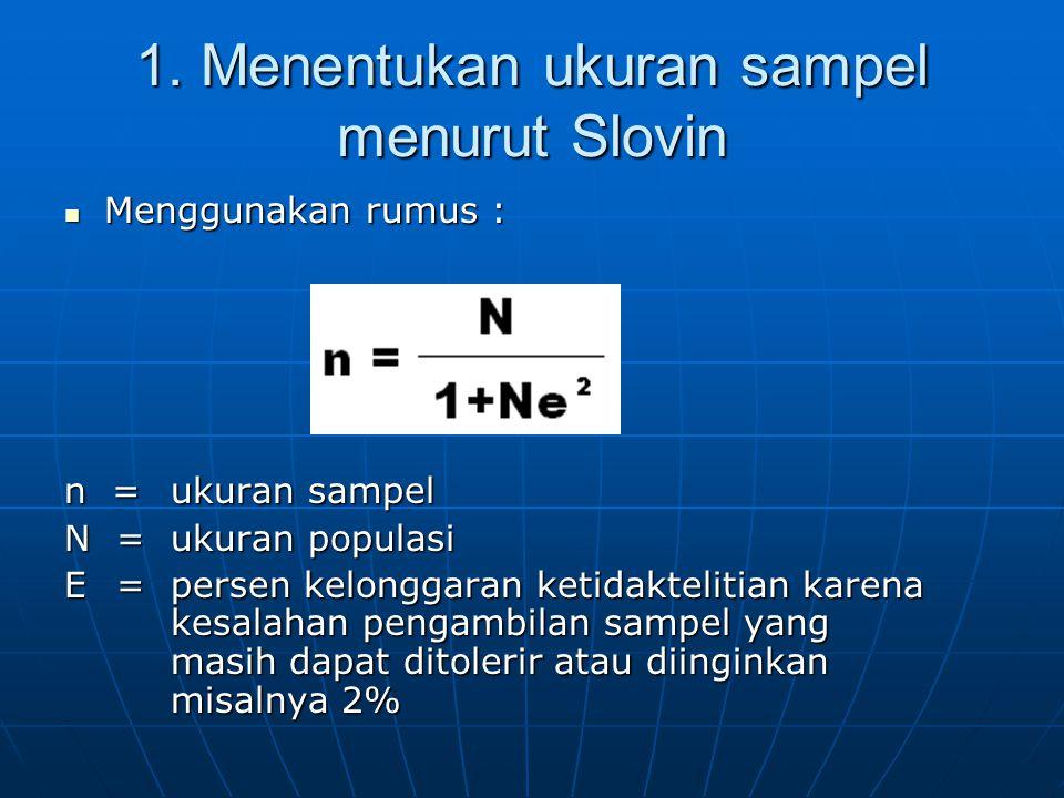 1. Menentukan ukuran sampel menurut Slovin