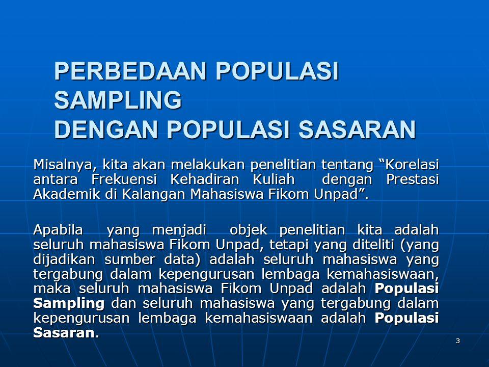 PERBEDAAN POPULASI SAMPLING DENGAN POPULASI SASARAN