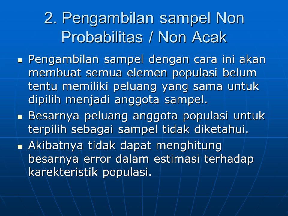2. Pengambilan sampel Non Probabilitas / Non Acak