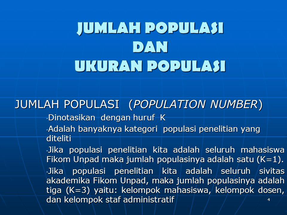 JUMLAH POPULASI DAN UKURAN POPULASI