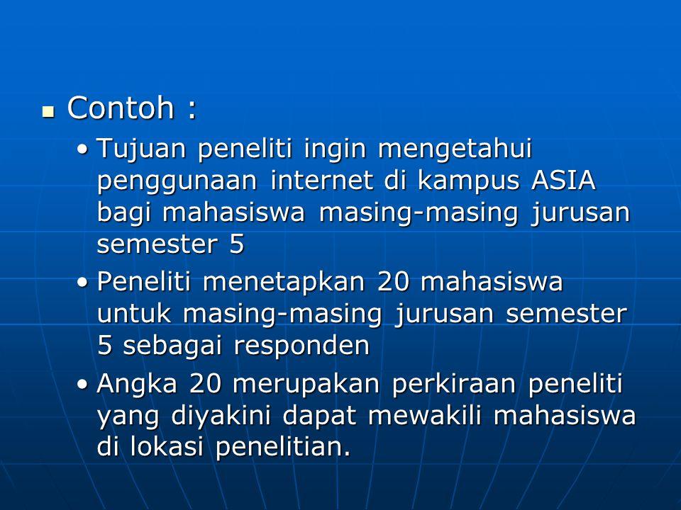 Contoh : Tujuan peneliti ingin mengetahui penggunaan internet di kampus ASIA bagi mahasiswa masing-masing jurusan semester 5.
