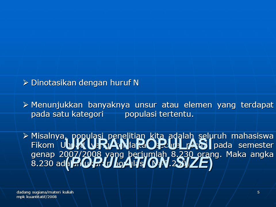 UKURAN POPULASI (POPULATION SIZE)