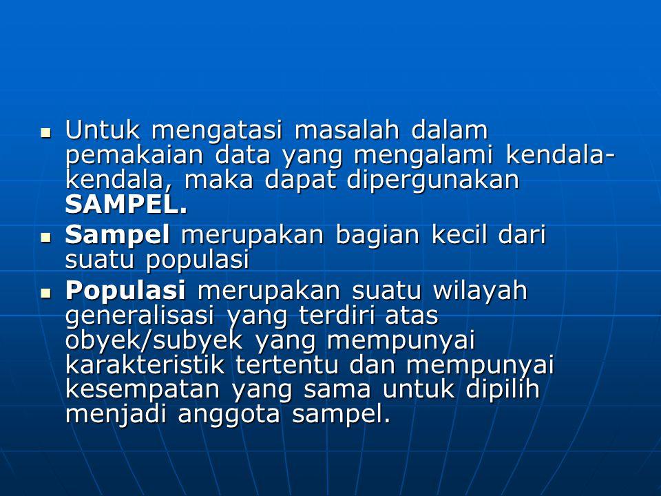 Untuk mengatasi masalah dalam pemakaian data yang mengalami kendala-kendala, maka dapat dipergunakan SAMPEL.