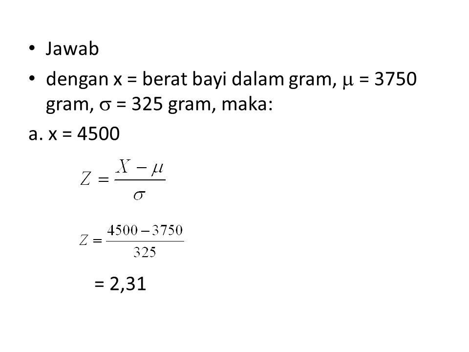 Jawab dengan x = berat bayi dalam gram,  = 3750 gram,  = 325 gram, maka: a. x = 4500 = 2,31