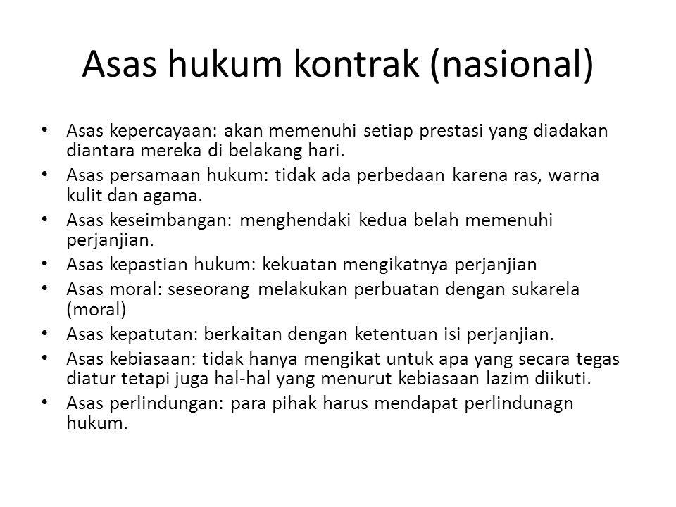 Asas hukum kontrak (nasional)