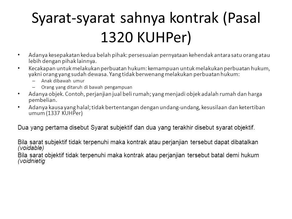 Syarat-syarat sahnya kontrak (Pasal 1320 KUHPer)