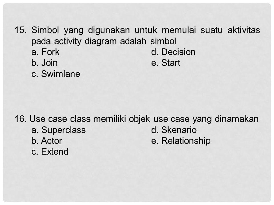 15. Simbol yang digunakan untuk memulai suatu aktivitas pada activity diagram adalah simbol