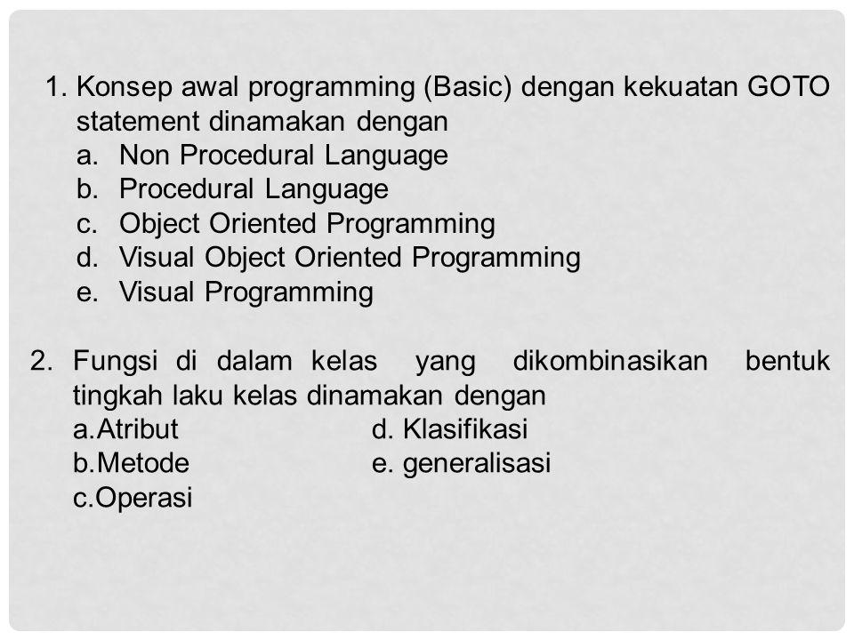 Konsep awal programming (Basic) dengan kekuatan GOTO statement dinamakan dengan