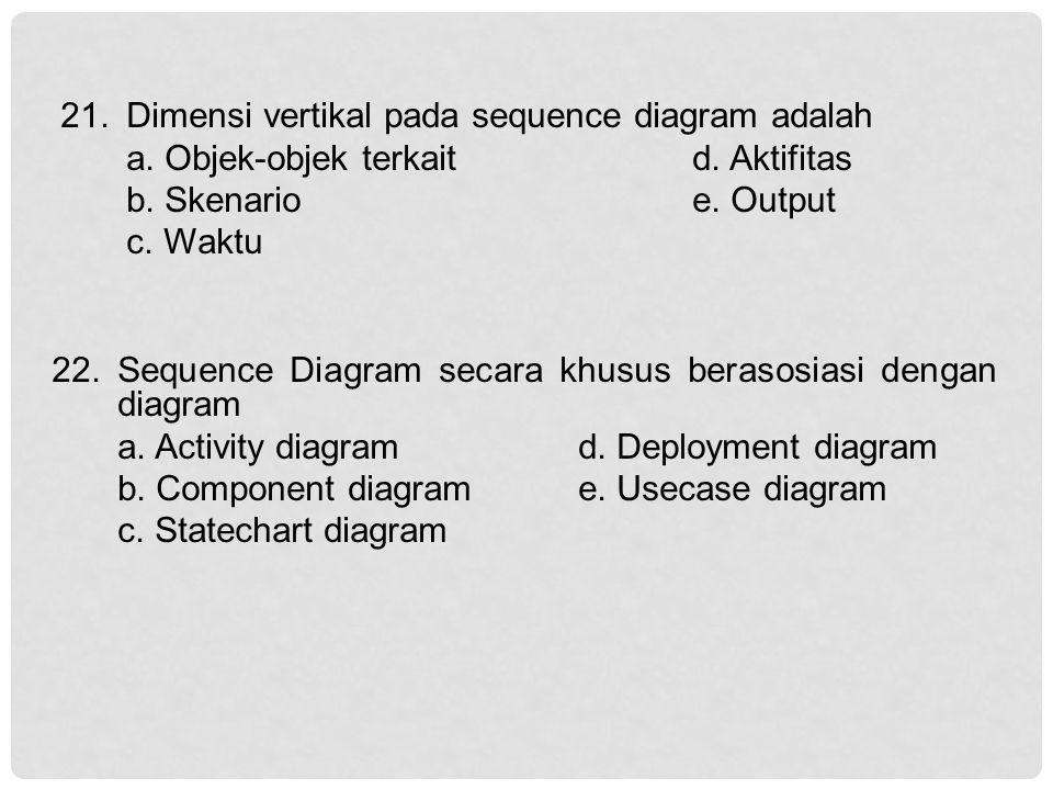 Dimensi vertikal pada sequence diagram adalah