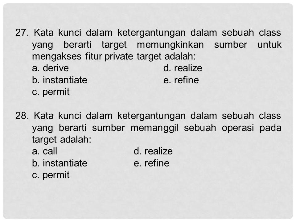 27. Kata kunci dalam ketergantungan dalam sebuah class yang berarti target memungkinkan sumber untuk mengakses fitur private target adalah: