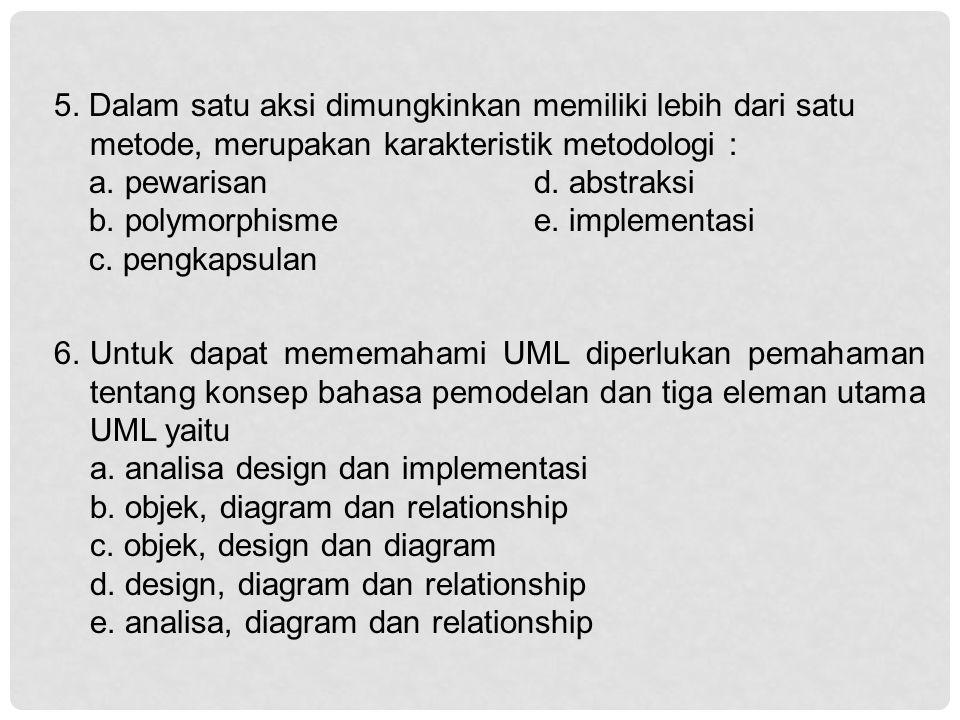 5. Dalam satu aksi dimungkinkan memiliki lebih dari satu metode, merupakan karakteristik metodologi :