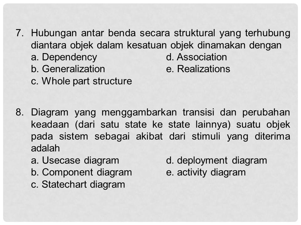 7. Hubungan antar benda secara struktural yang terhubung diantara objek dalam kesatuan objek dinamakan dengan