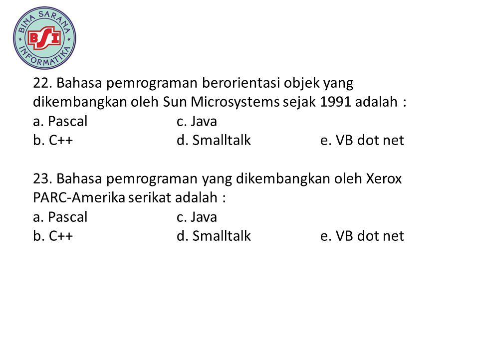 22. Bahasa pemrograman berorientasi objek yang dikembangkan oleh Sun Microsystems sejak 1991 adalah :