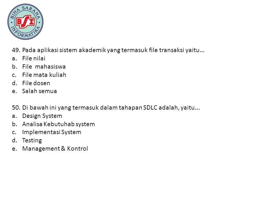 Pada aplikasi sistem akademik yang termasuk file transaksi yaitu...