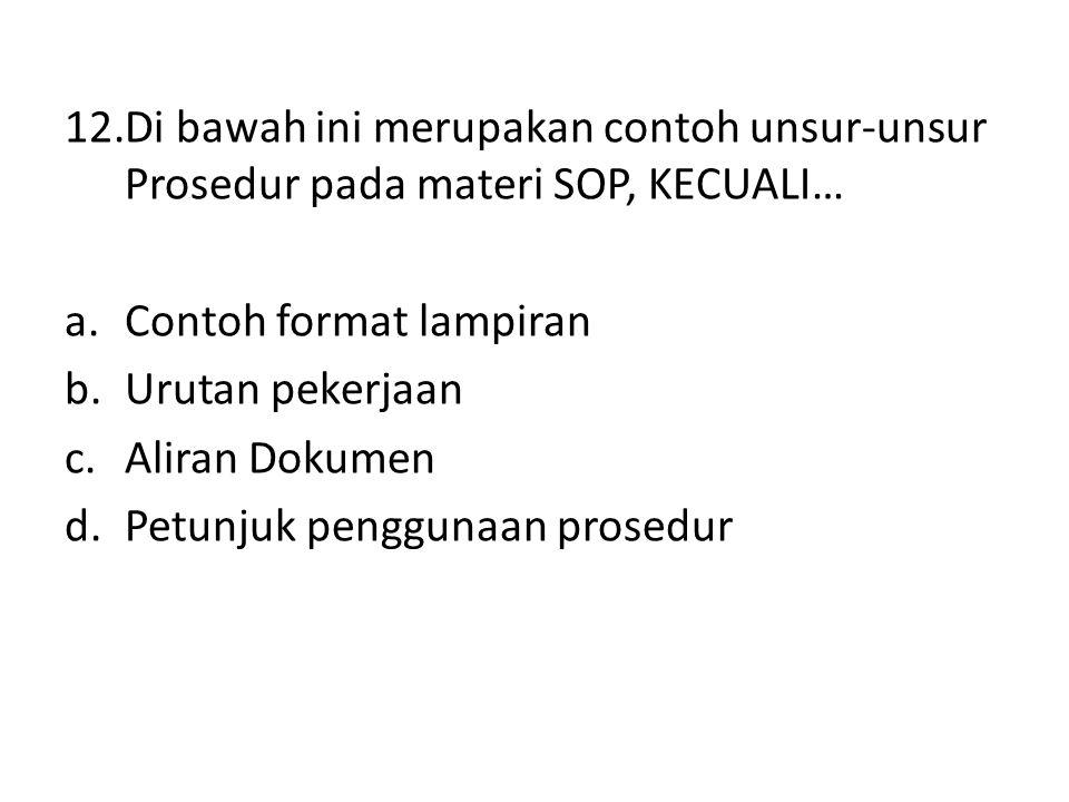 Di bawah ini merupakan contoh unsur-unsur Prosedur pada materi SOP, KECUALI…