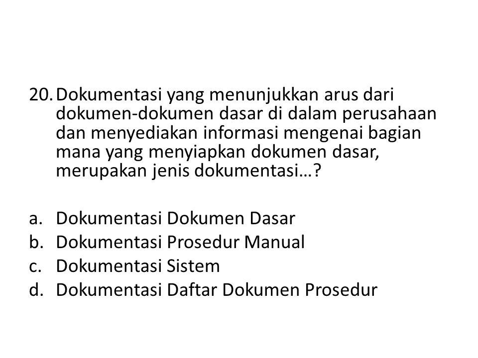 Dokumentasi Dokumen Dasar Dokumentasi Prosedur Manual