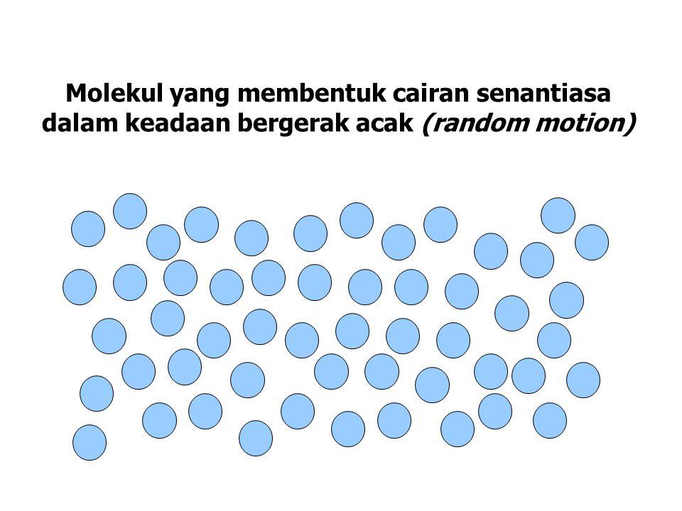 Molekul yang membentuk cairan senantiasa dalam keadaan bergerak acak (random motion)