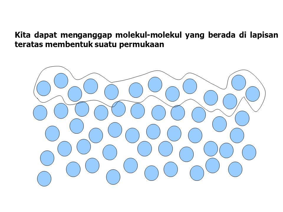 Kita dapat menganggap molekul-molekul yang berada di lapisan teratas membentuk suatu permukaan