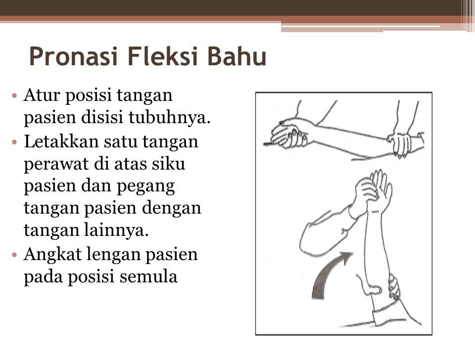 Pronasi Fleksi Bahu Atur posisi tangan pasien disisi tubuhnya.