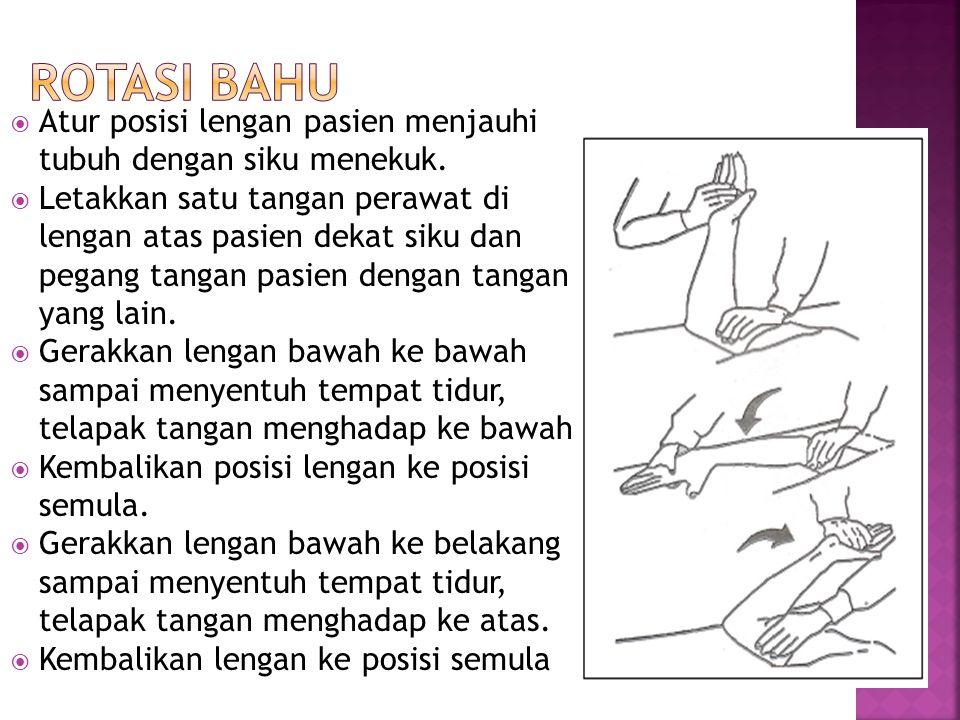 Rotasi Bahu Atur posisi lengan pasien menjauhi tubuh dengan siku menekuk.