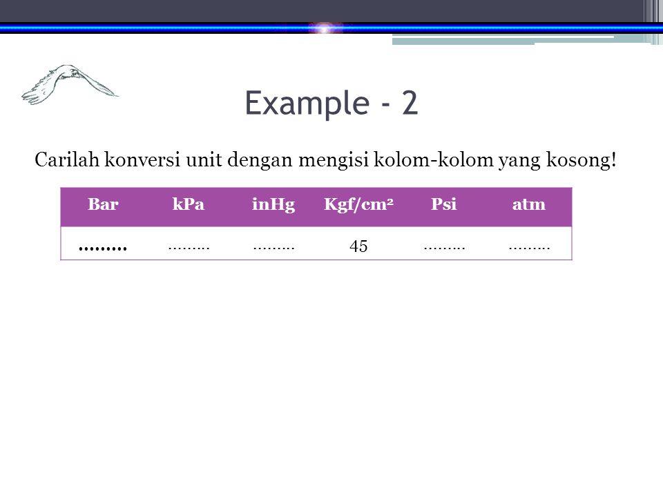 Example - 2 Carilah konversi unit dengan mengisi kolom-kolom yang kosong! Bar. kPa. inHg. Kgf/cm2.