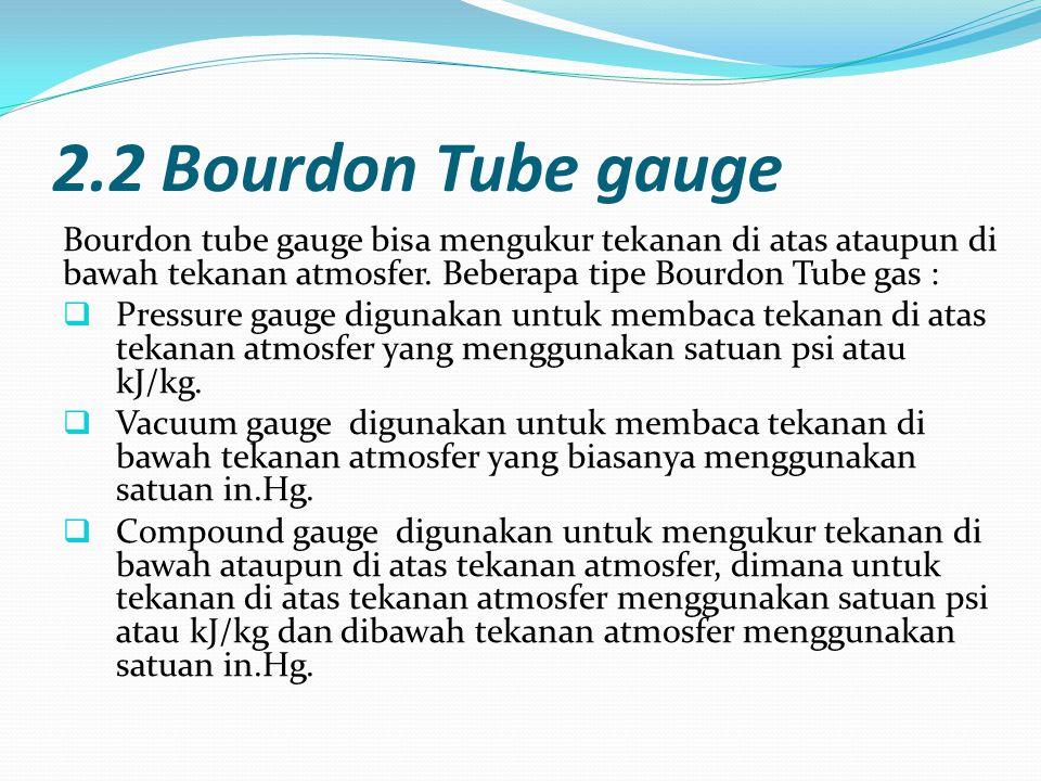 2.2 Bourdon Tube gauge Bourdon tube gauge bisa mengukur tekanan di atas ataupun di bawah tekanan atmosfer. Beberapa tipe Bourdon Tube gas :