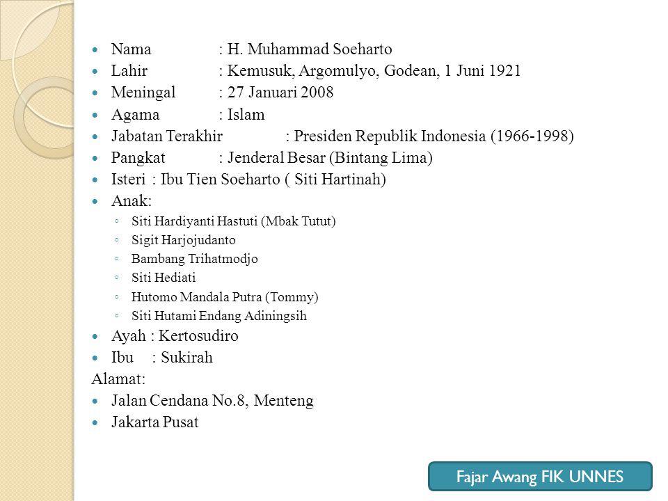 Nama : H. Muhammad Soeharto