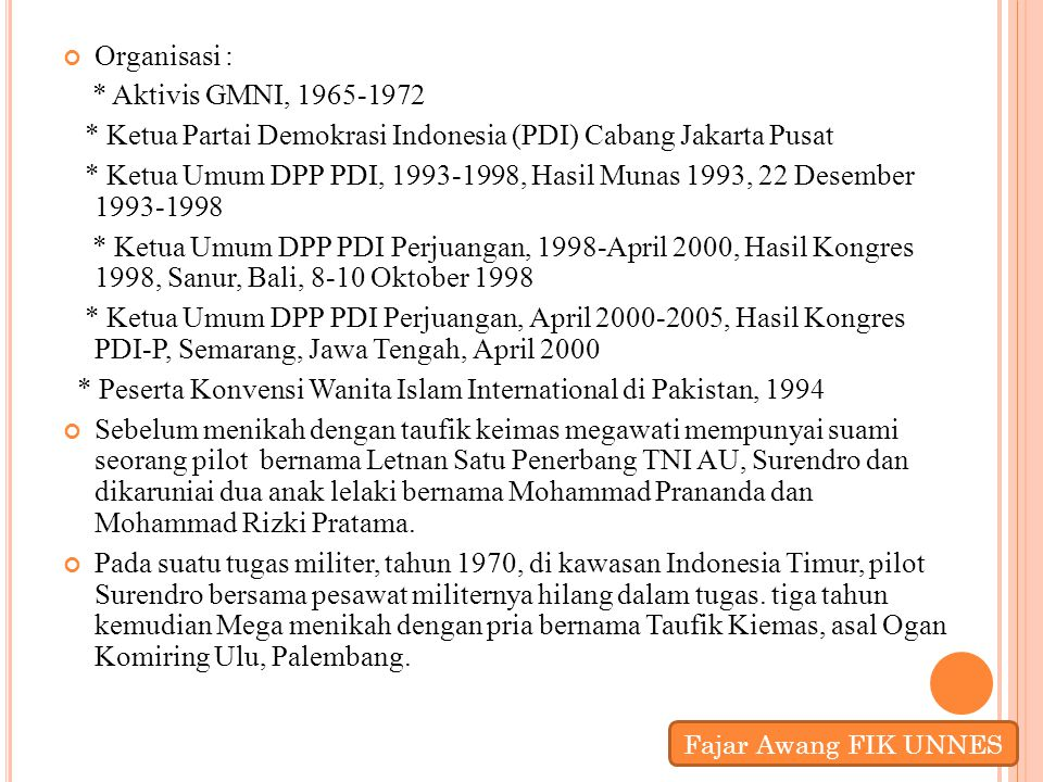 * Ketua Partai Demokrasi Indonesia (PDI) Cabang Jakarta Pusat