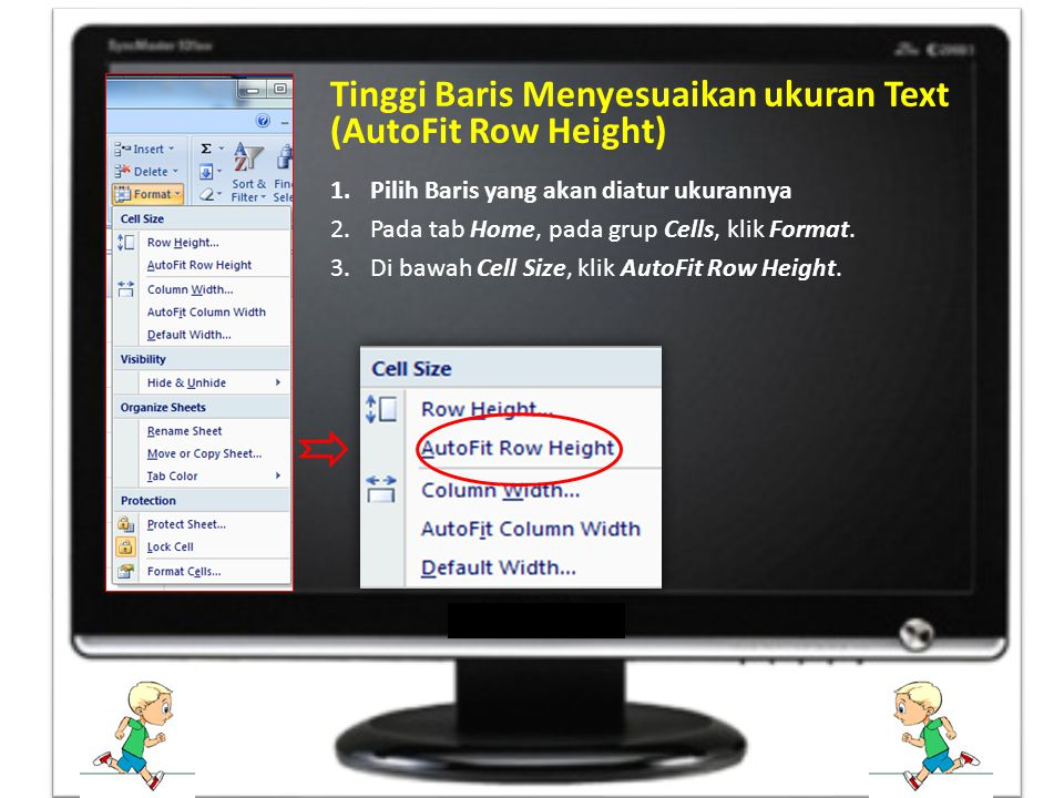 Tinggi Baris Menyesuaikan ukuran Text (AutoFit Row Height)