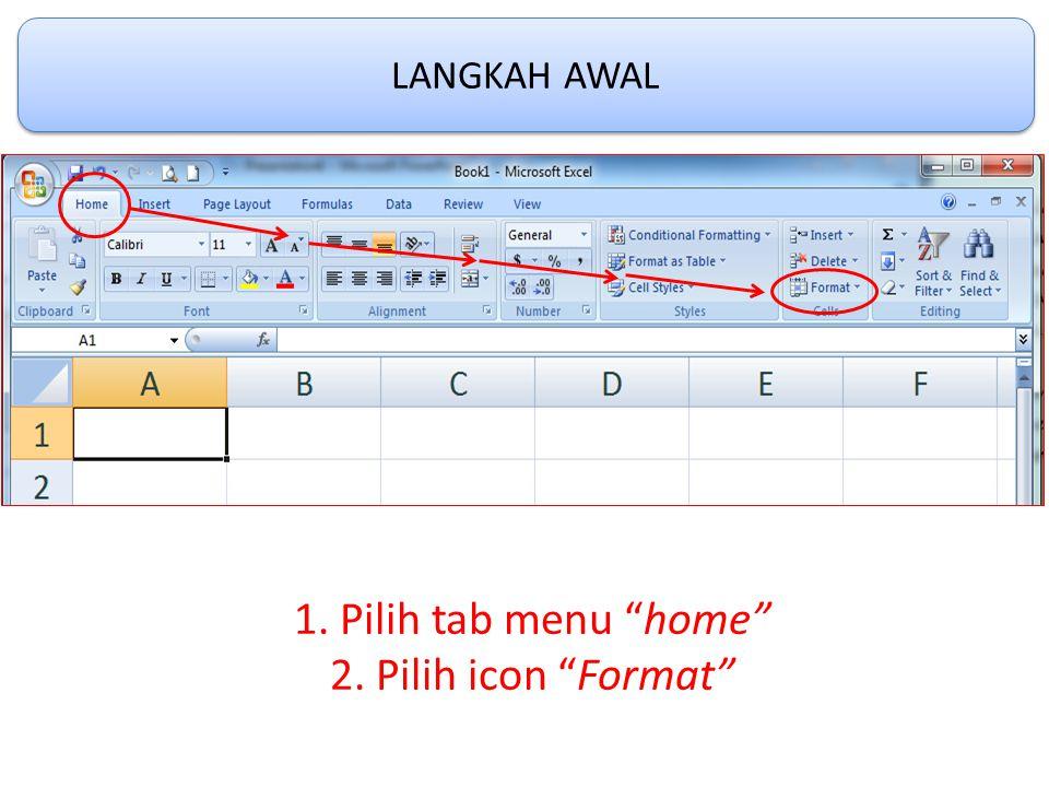 LANGKAH AWAL 1. Pilih tab menu home 2. Pilih icon Format