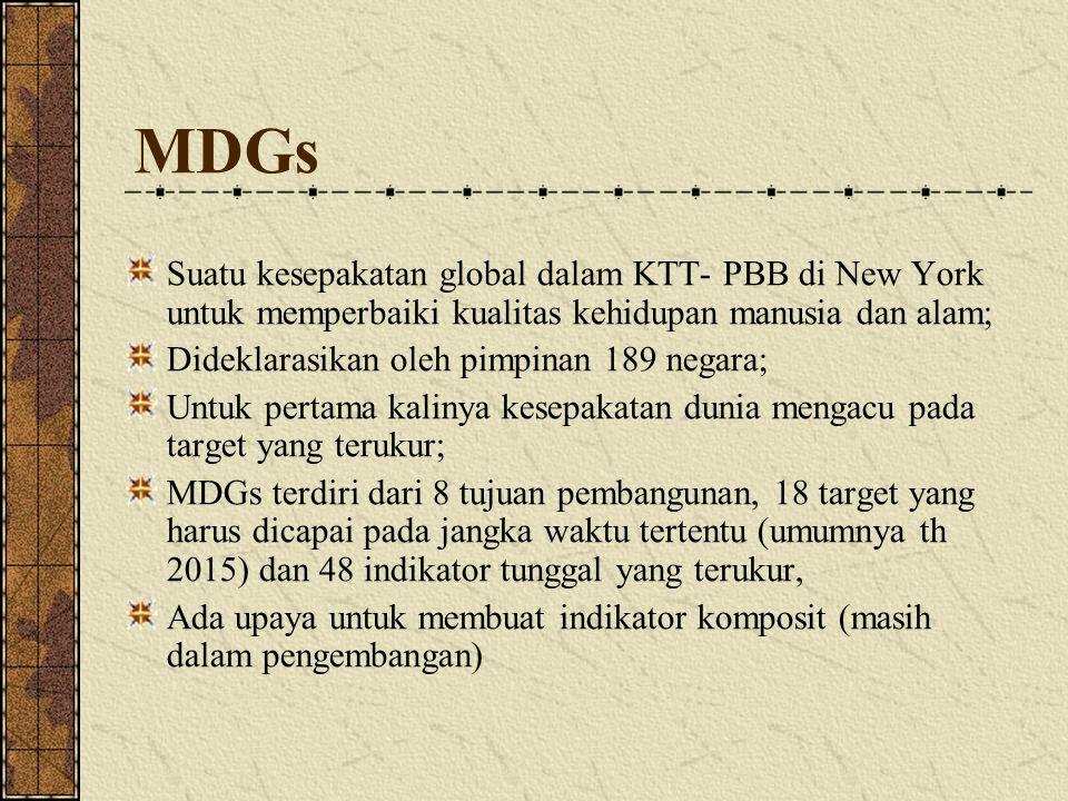 MDGs Suatu kesepakatan global dalam KTT- PBB di New York untuk memperbaiki kualitas kehidupan manusia dan alam;