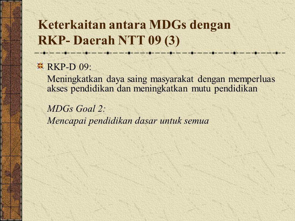 Keterkaitan antara MDGs dengan RKP- Daerah NTT 09 (3)