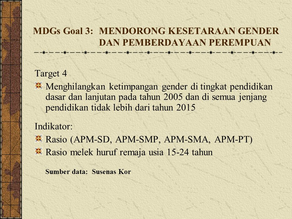 MDGs Goal 3: MENDORONG KESETARAAN GENDER DAN PEMBERDAYAAN PEREMPUAN