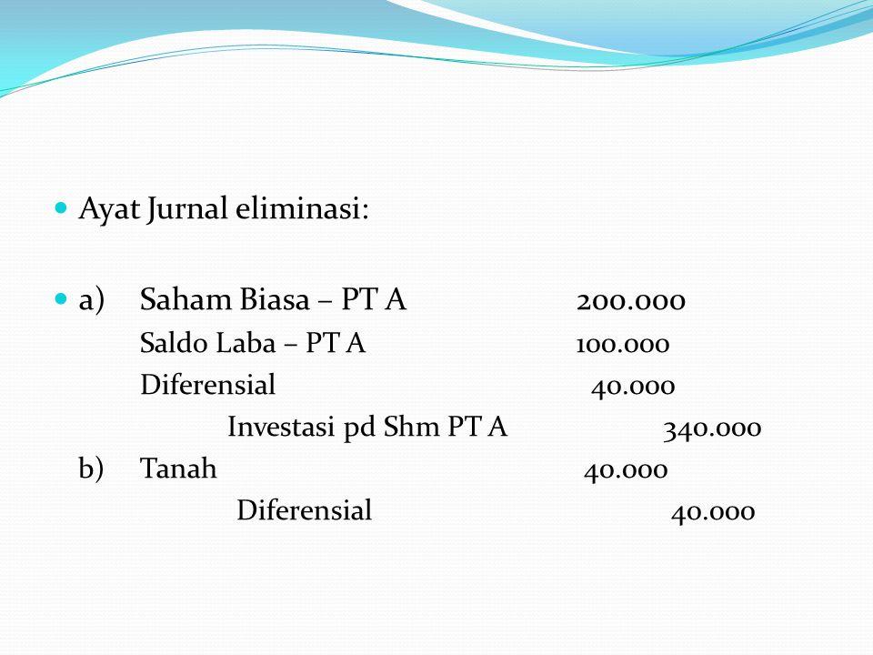 Ayat Jurnal eliminasi: a) Saham Biasa – PT A 200.000