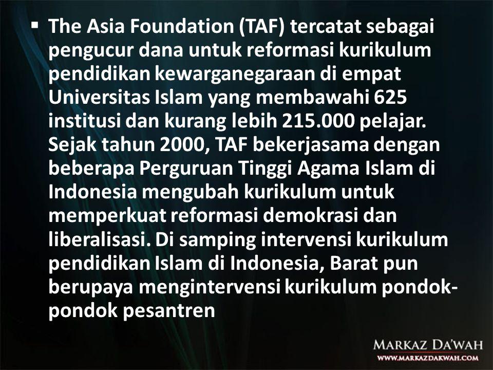 The Asia Foundation (TAF) tercatat sebagai pengucur dana untuk reformasi kurikulum pendidikan kewarganegaraan di empat Universitas Islam yang membawahi 625 institusi dan kurang lebih 215.000 pelajar.