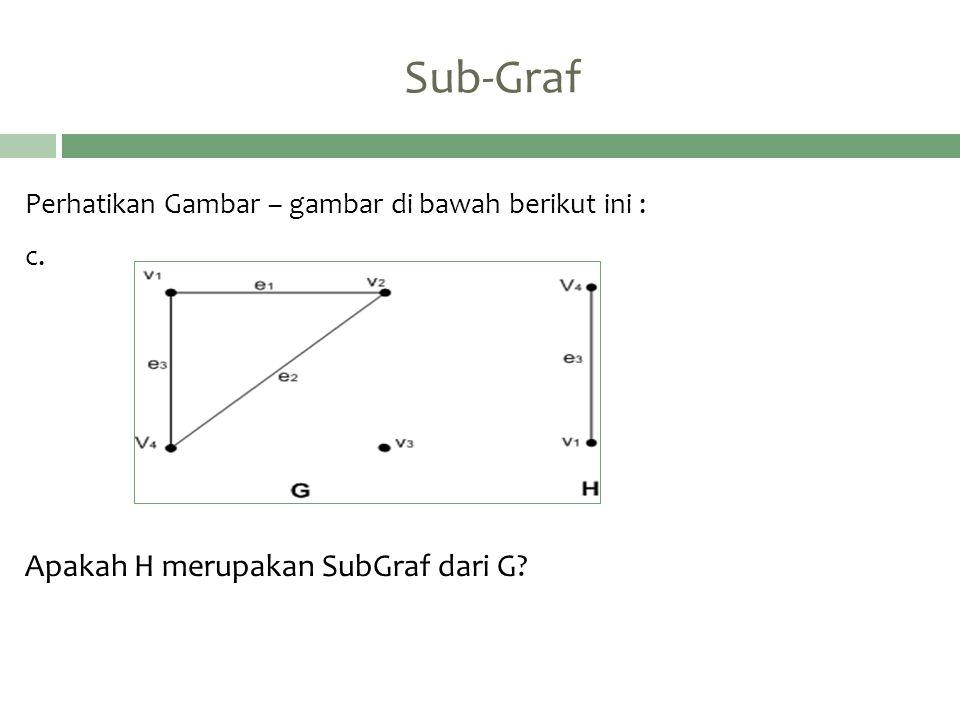 Sub-Graf Apakah H merupakan SubGraf dari G