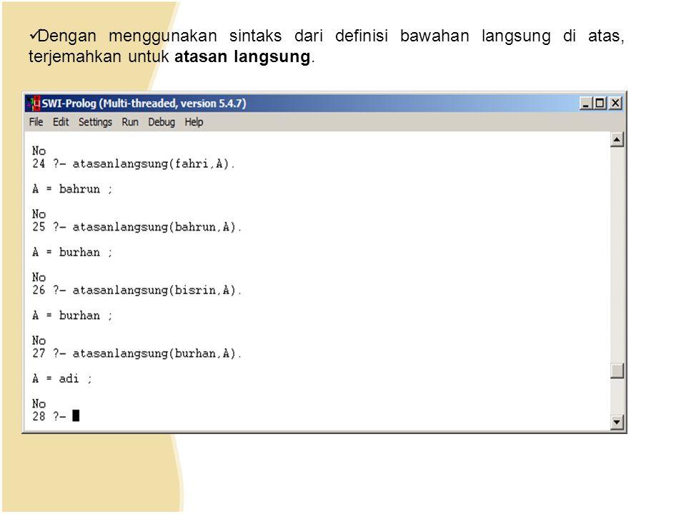 Dengan menggunakan sintaks dari definisi bawahan langsung di atas, terjemahkan untuk atasan langsung.
